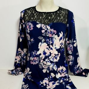 Xhilaration Floral and Black Lace Dress